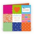 Geboortekaartjes - Hip & Trendy Vrolijk patchwork (R-403)